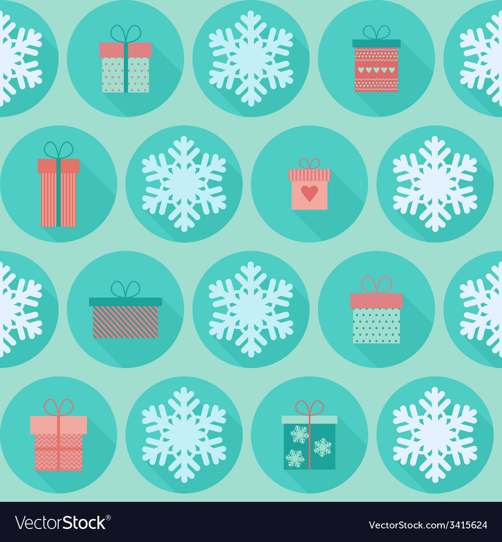 Christmas flat seamless pattern with gifts