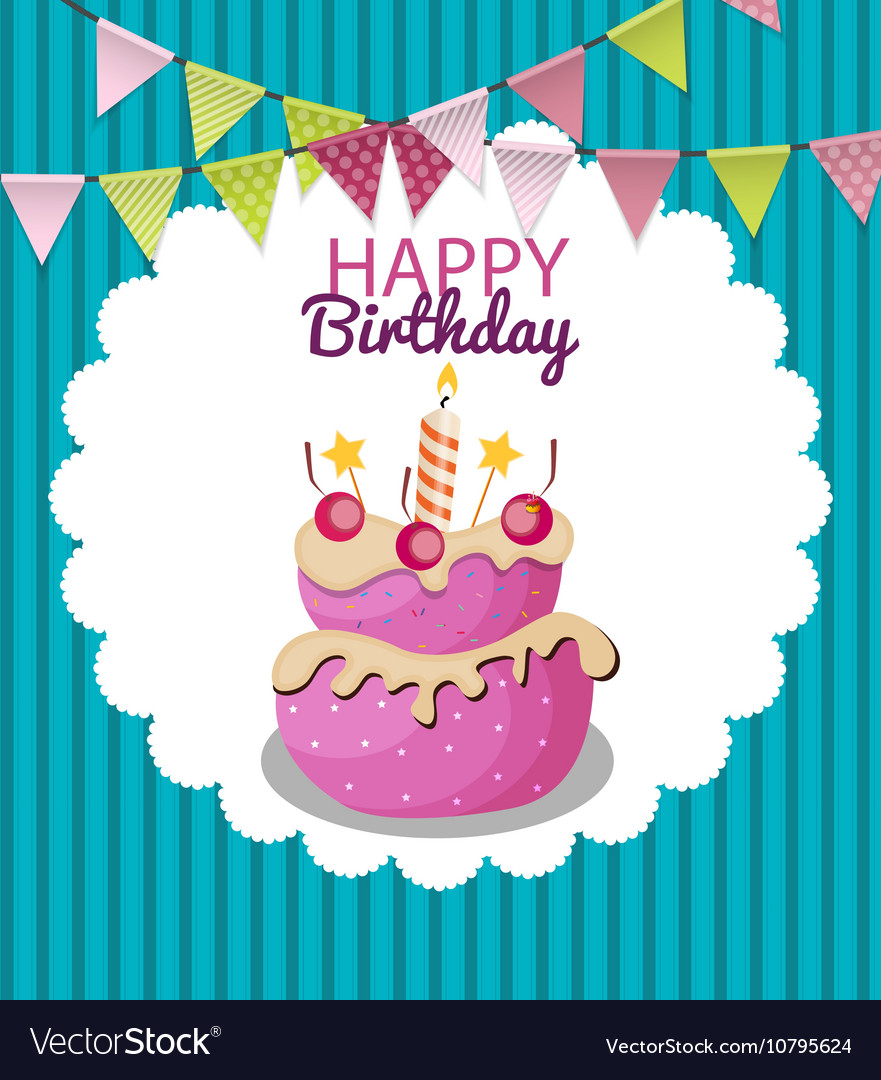 Color Glossy Happy Birthday Flags And Cake Banner Vector Image