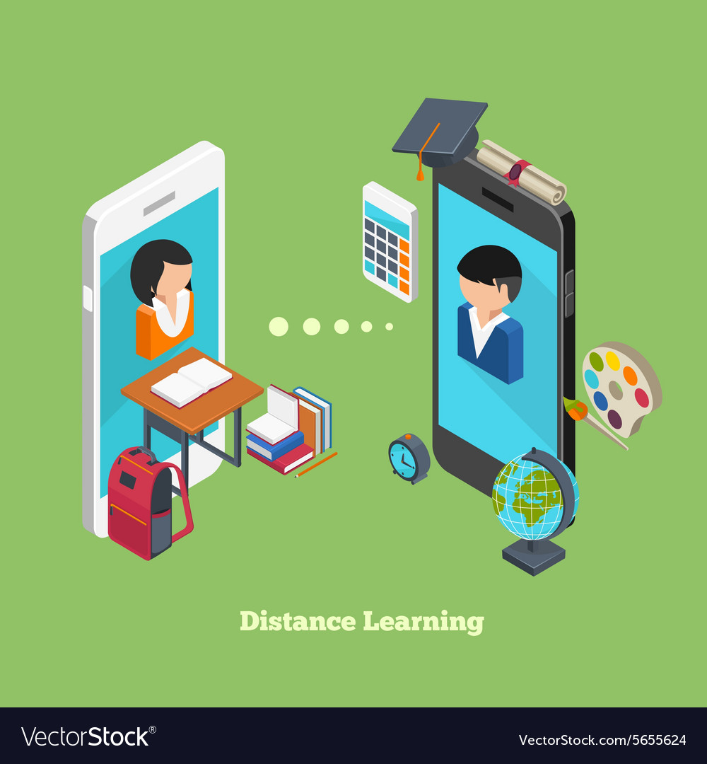 Distance Online Learning Royalty Free Vector Image