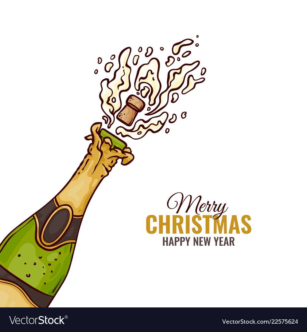 Flat champagne splash popping cork merry christmas