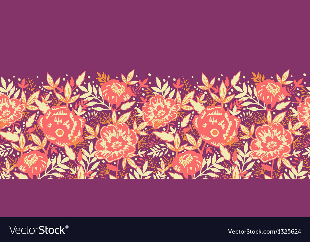 Golden flowers and leaves horizontal seamless