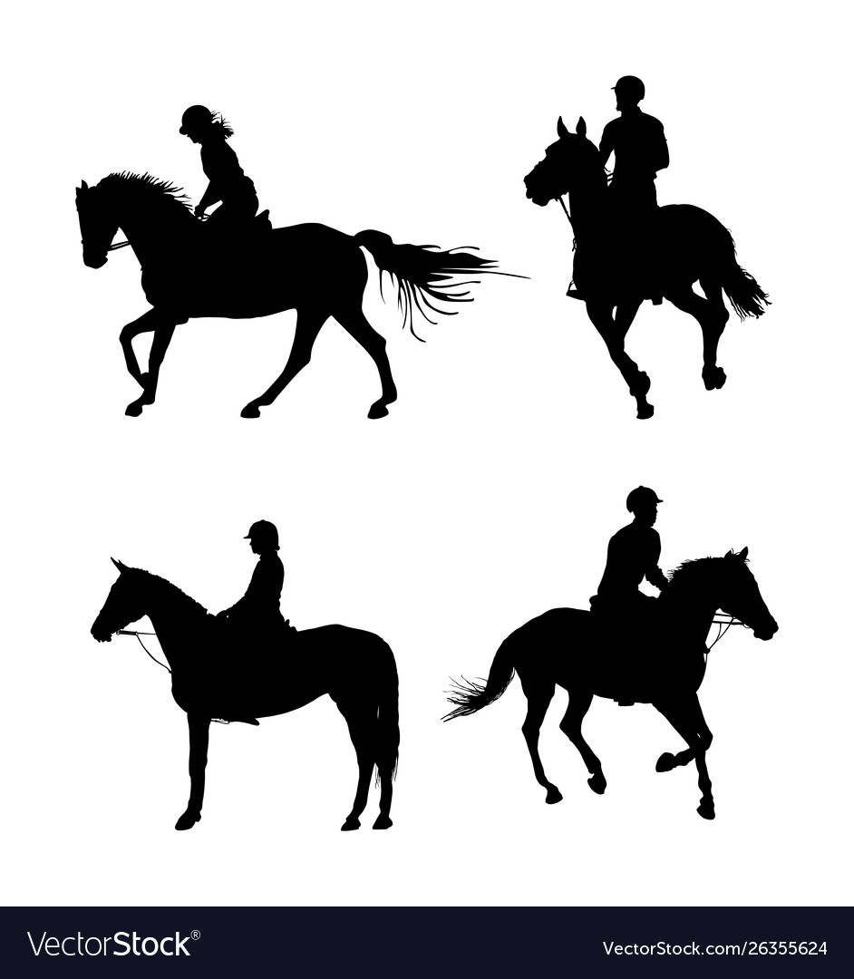 Group Jockey Riding Racing Horse Silhouette Vector Image