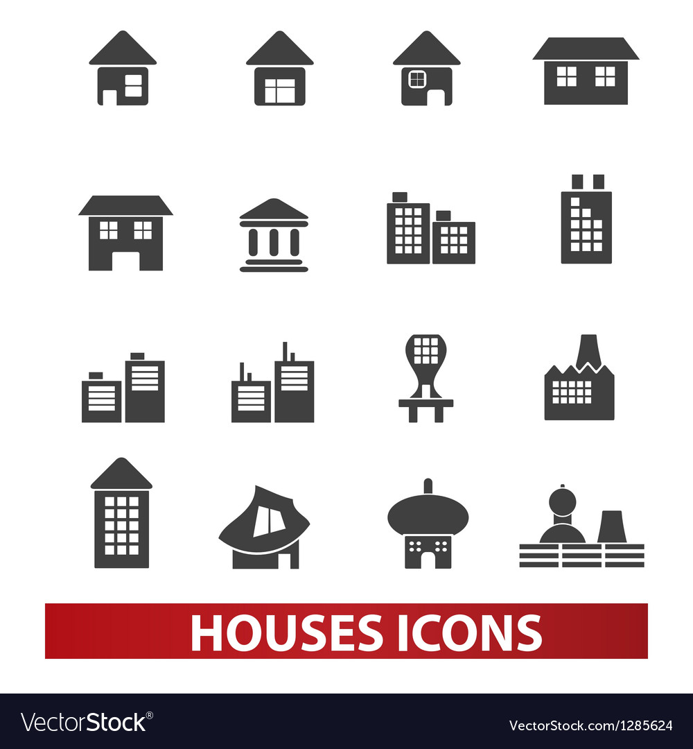 Houses building icons set