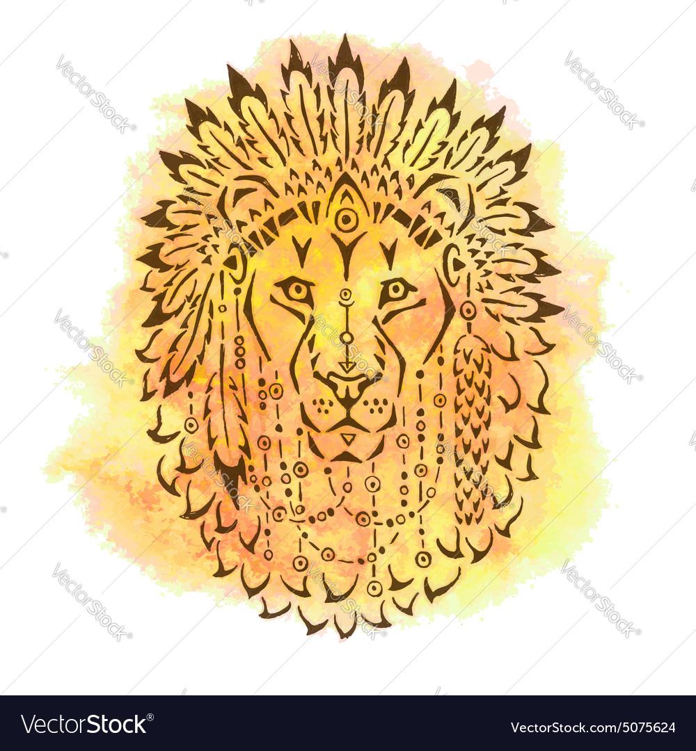 Lion in war bonnet hand drawn animal