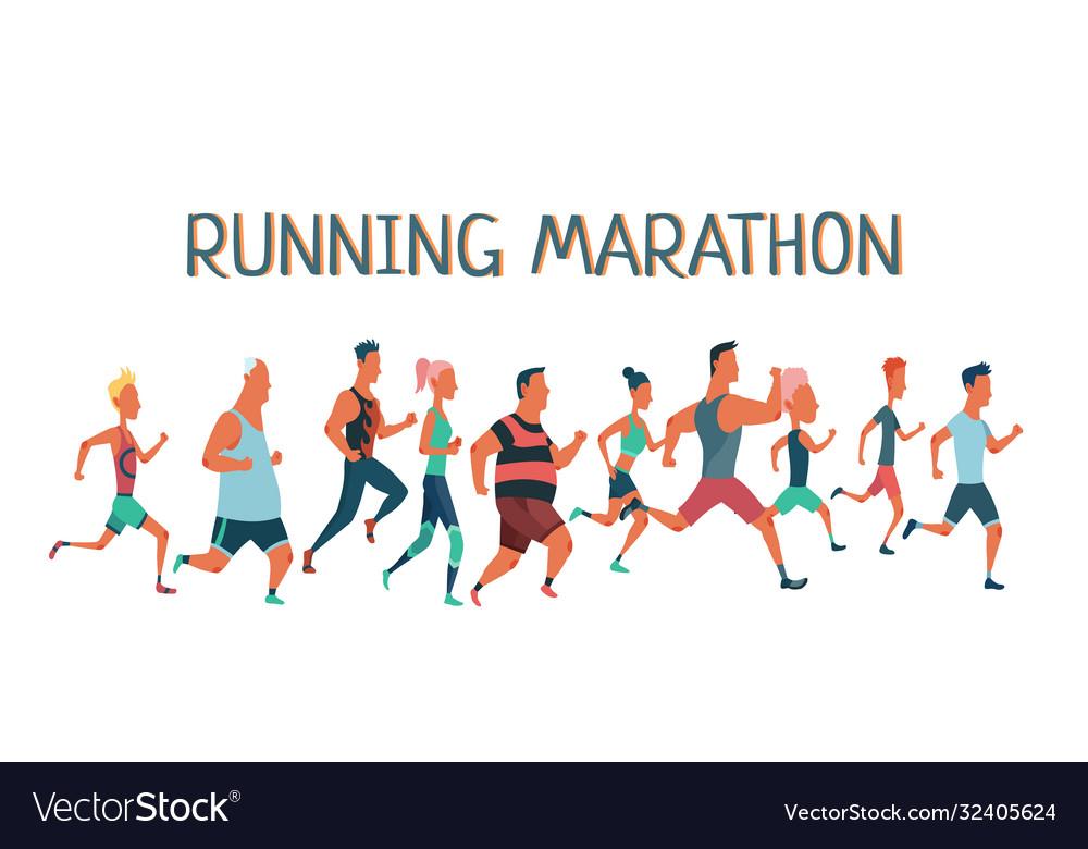 Men and women running marathon race group of