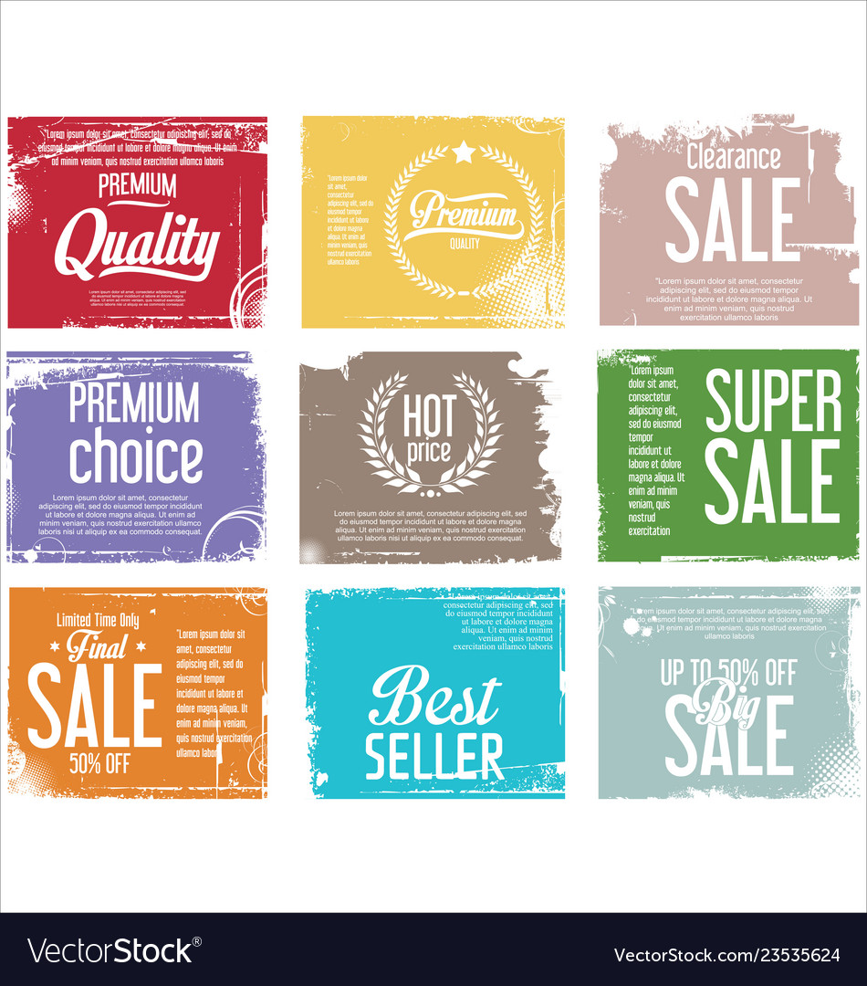 Premium quality retro vintage grunge labels