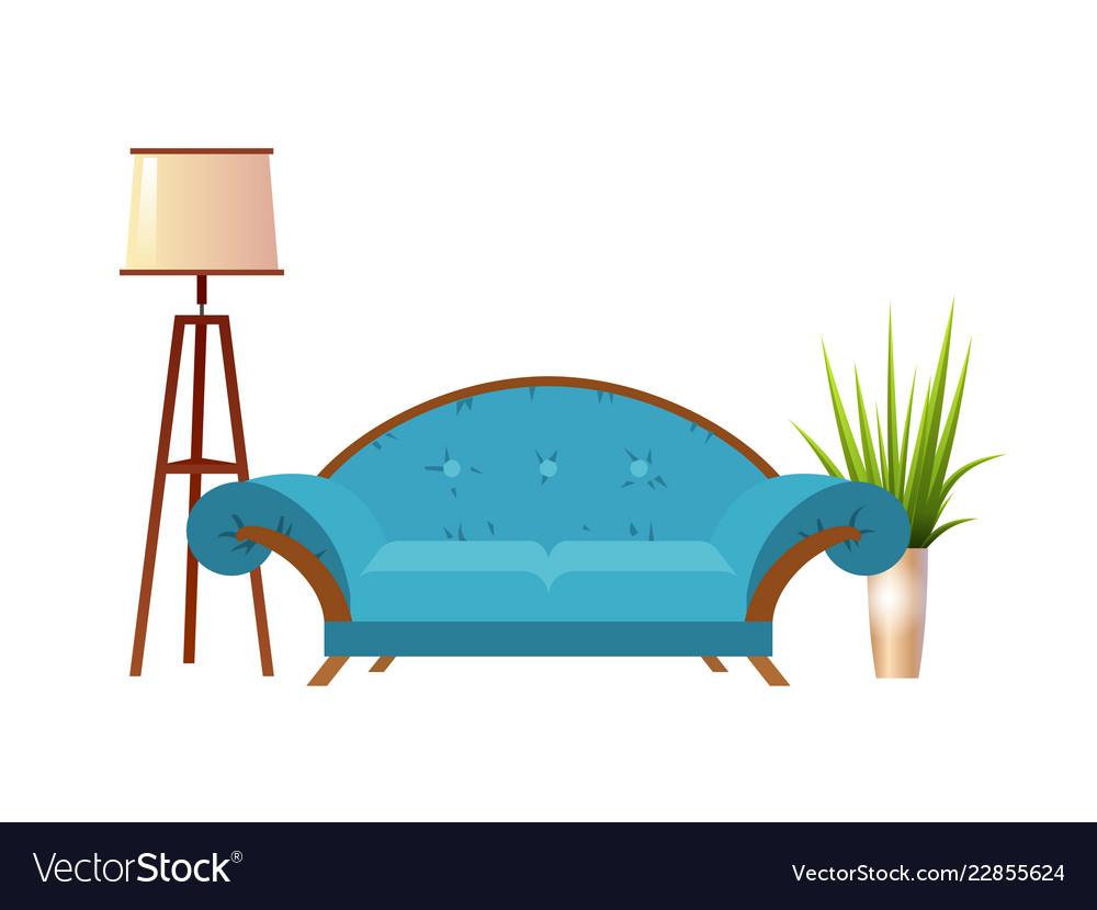 Realistic red sofa with floor lamp and flowerpot