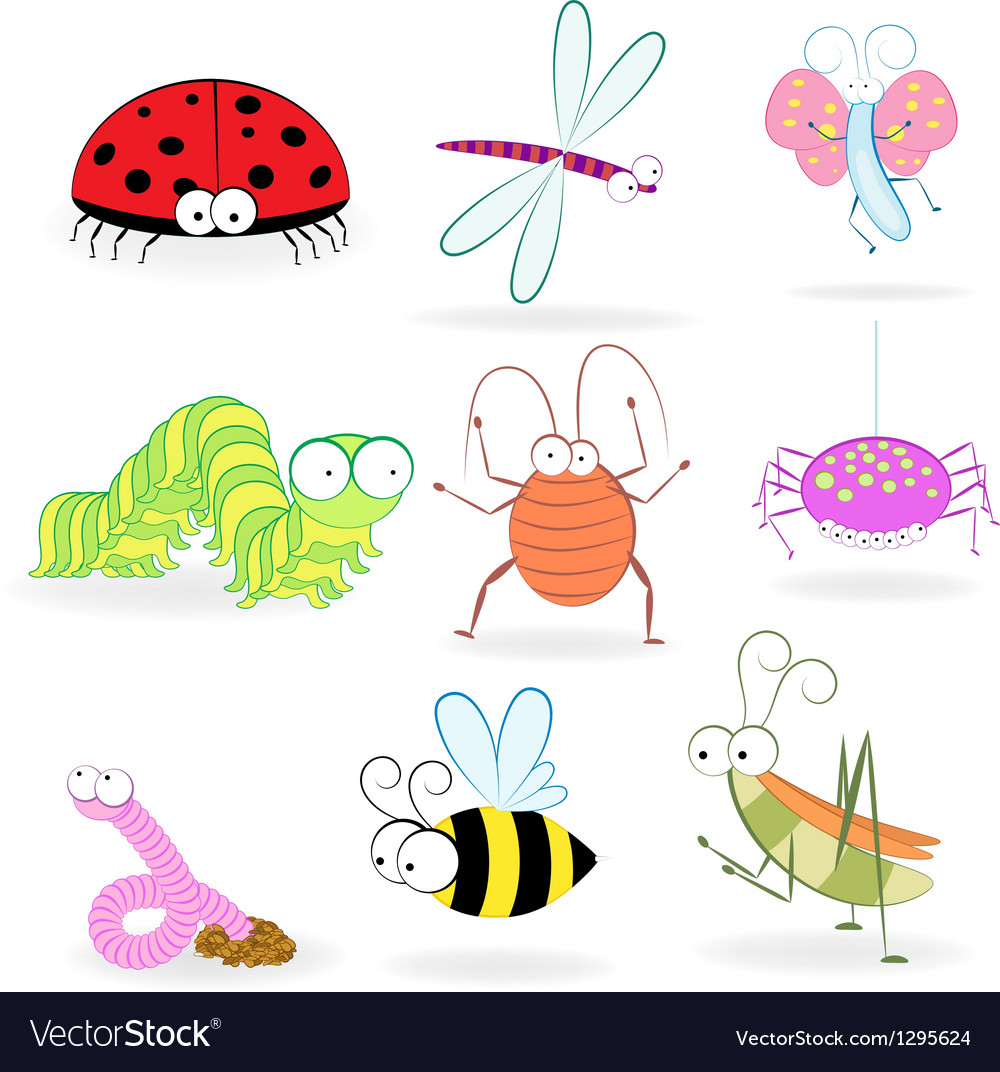 Set funny cartoon insects