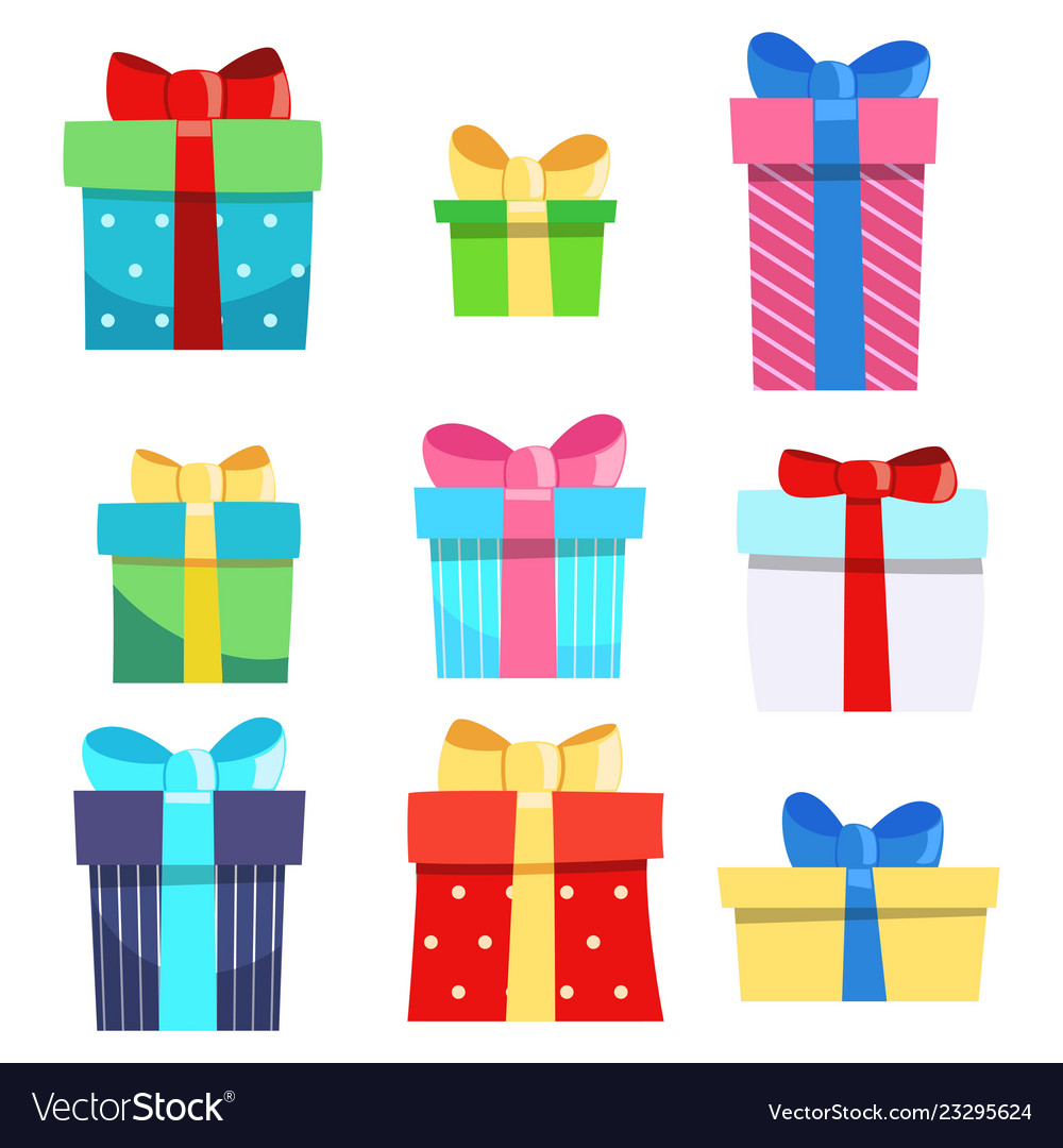 Set nine gift boxes holiday present