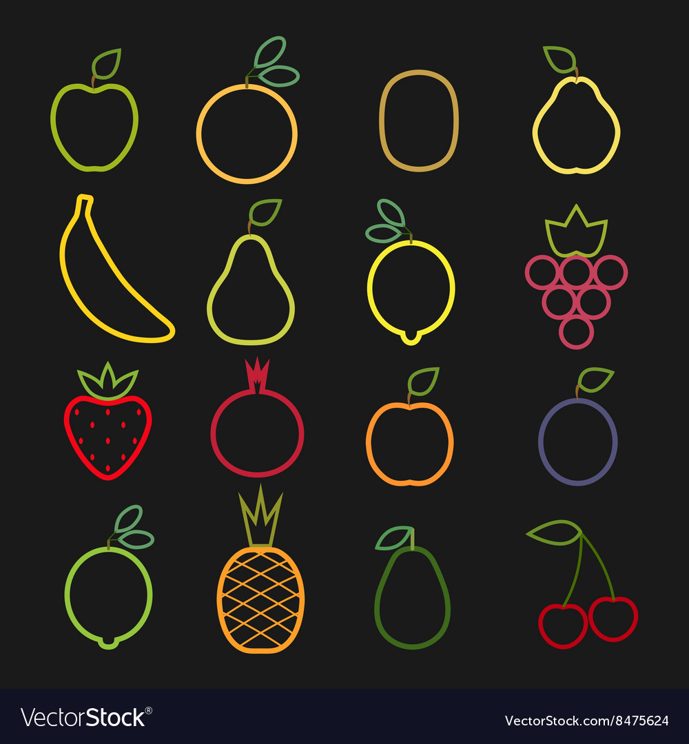 Set of flat fruits icons drawing with lines on