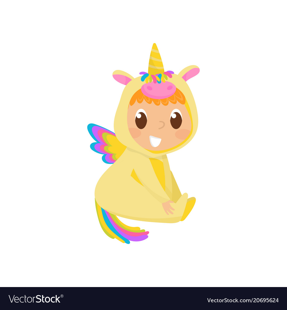 Sweet baby in yellow unicorn costume with wings
