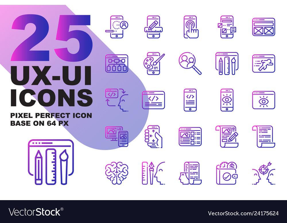 Ux ui application outline gradient icons set base