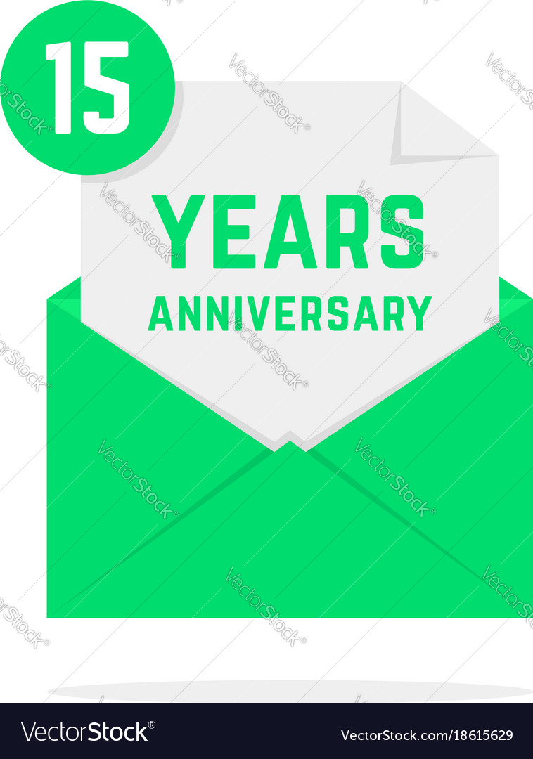 15 years anniversary icon in green letter