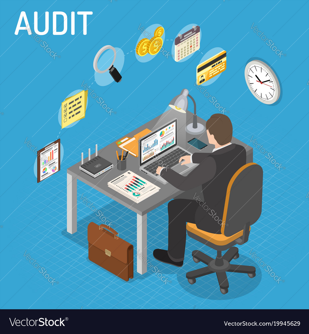Auditing tax process accounting isometric