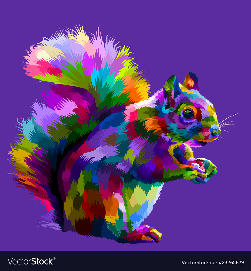 Colorful squirrel on pop art