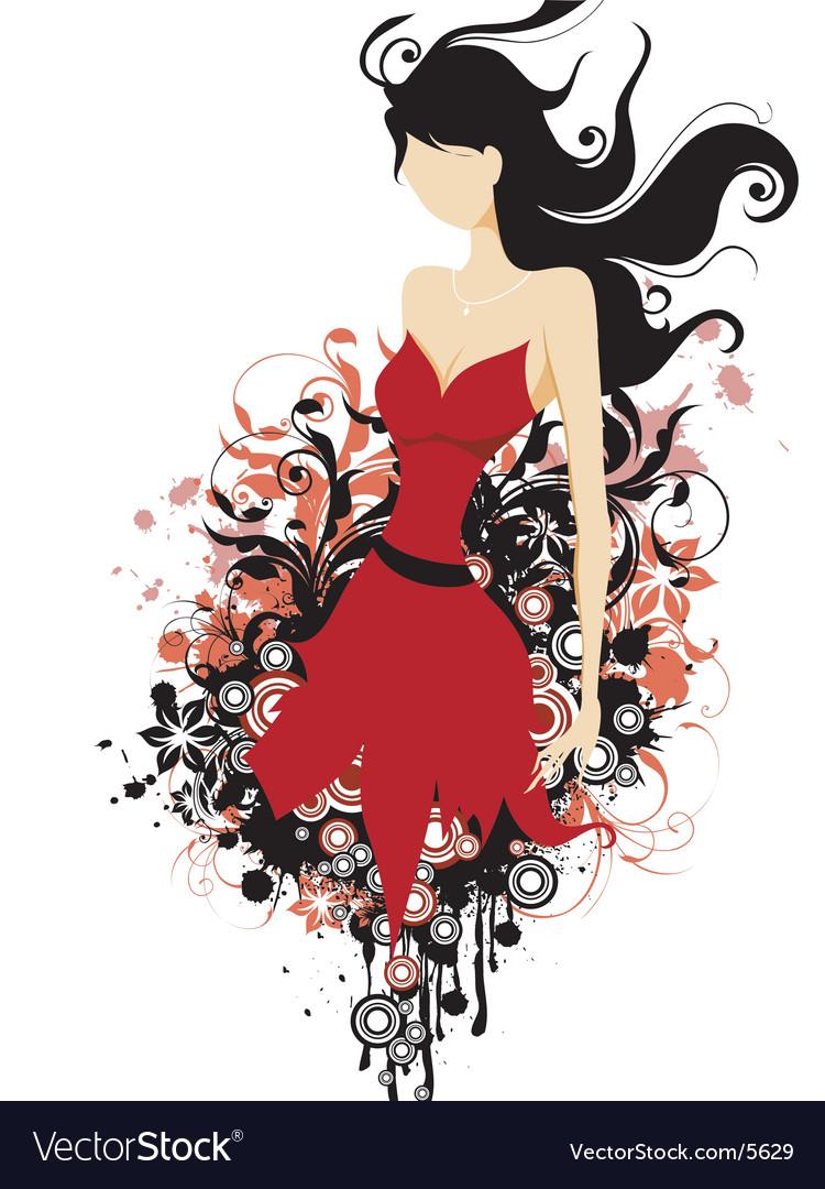 Fashion floral grunge vector image