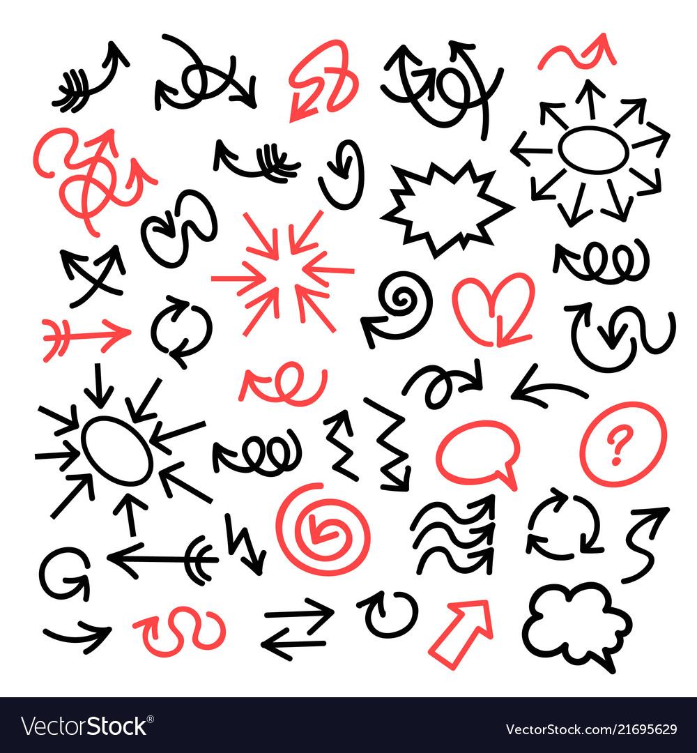 Funny cartoon arrows bubbles and circles sethand