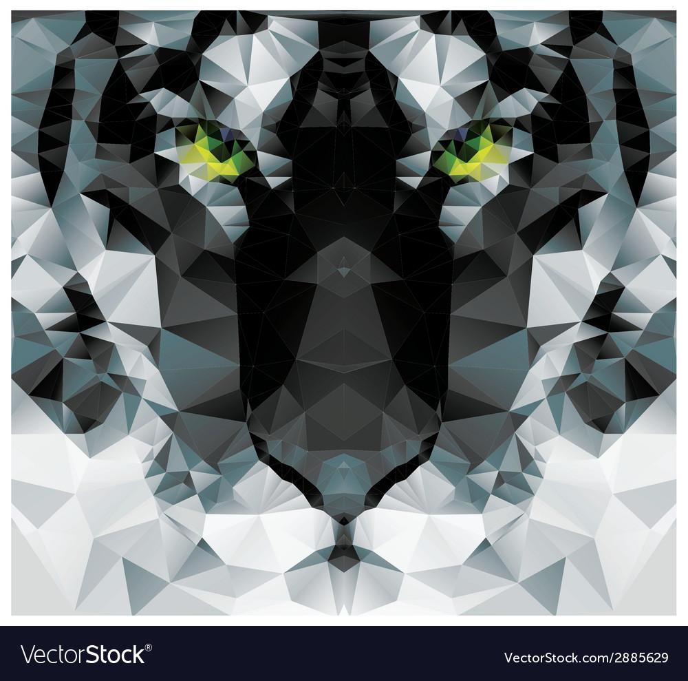 Geometric polygon white tiger head triangle