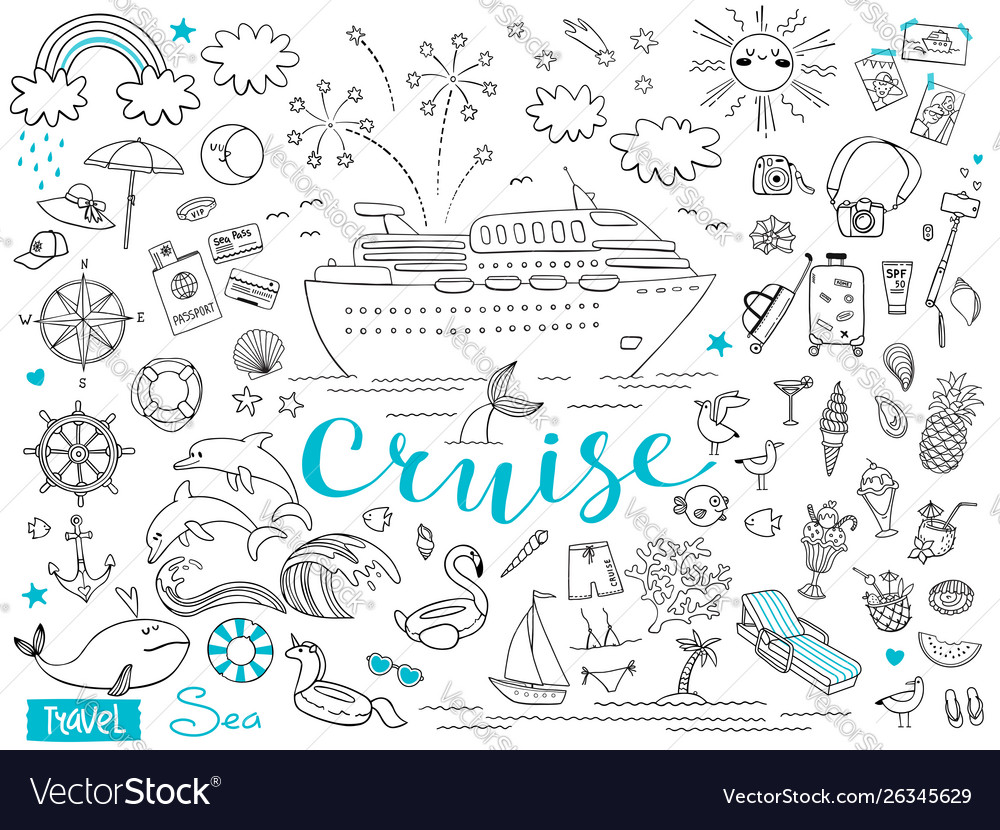 Graphic set elements journey on a cruise ship