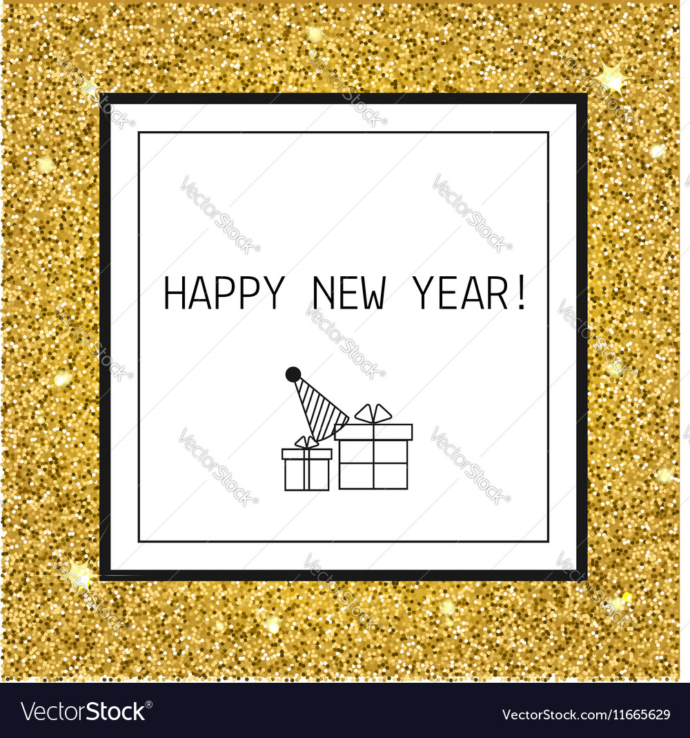 Happy New year Christmas greeting card with gold