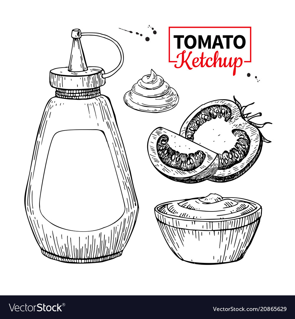 Ketchup sauce bottle with tomatoes drawing