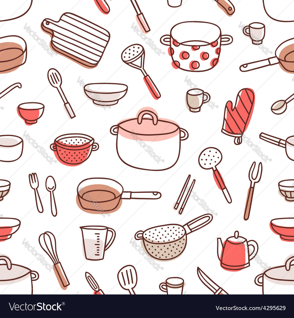 Kitchenware and cooking utensils red palette vector image