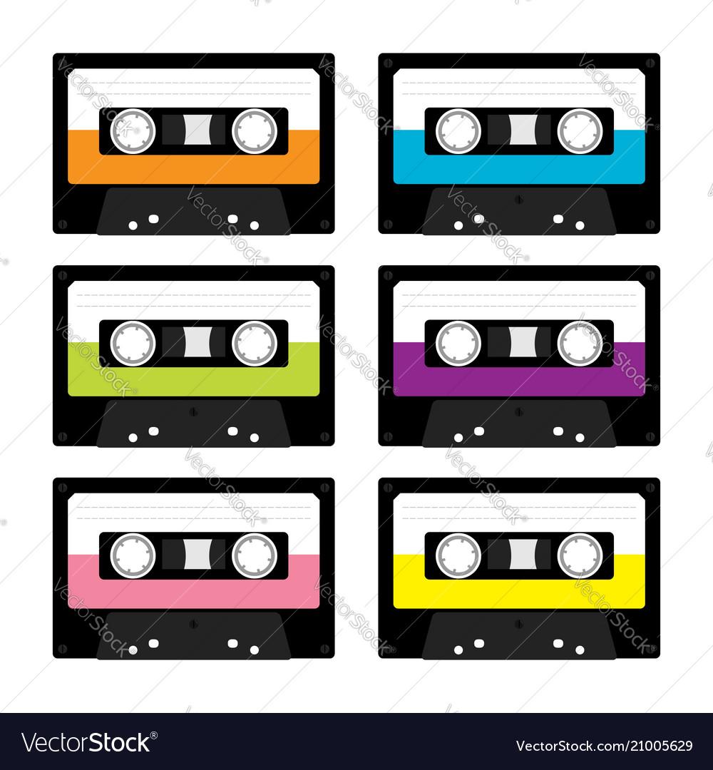 Plastic audio tape cassette retro music icon set