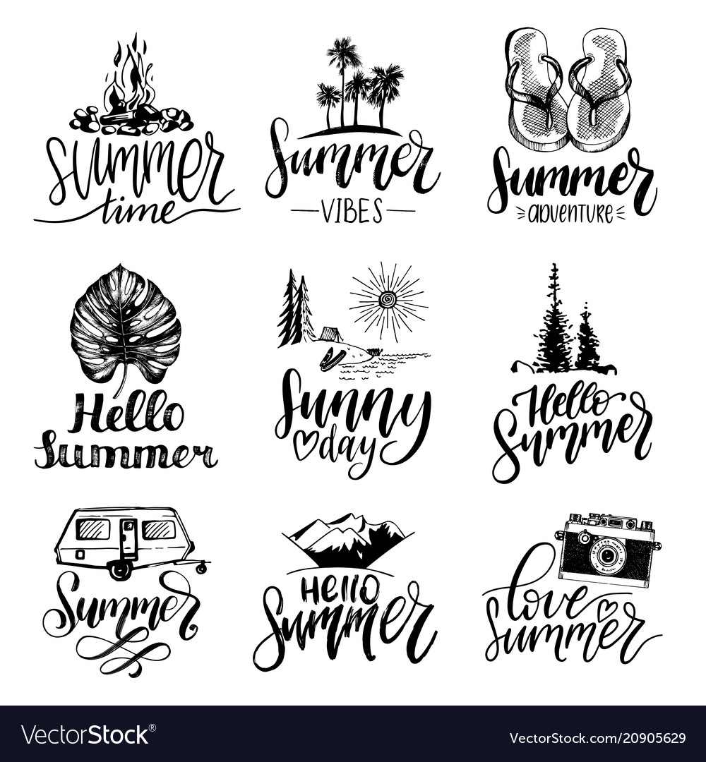 Set of hand lettering with summer