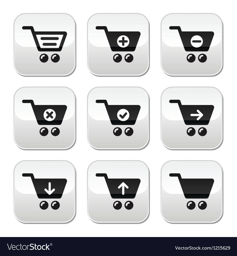Shopping cart buttons set vector image