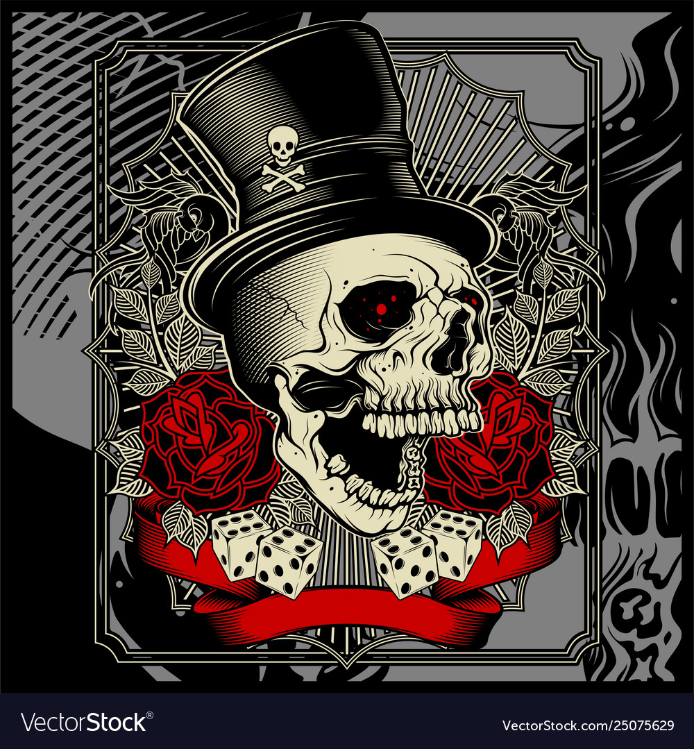 Skull wearing hat and dice rose decoration