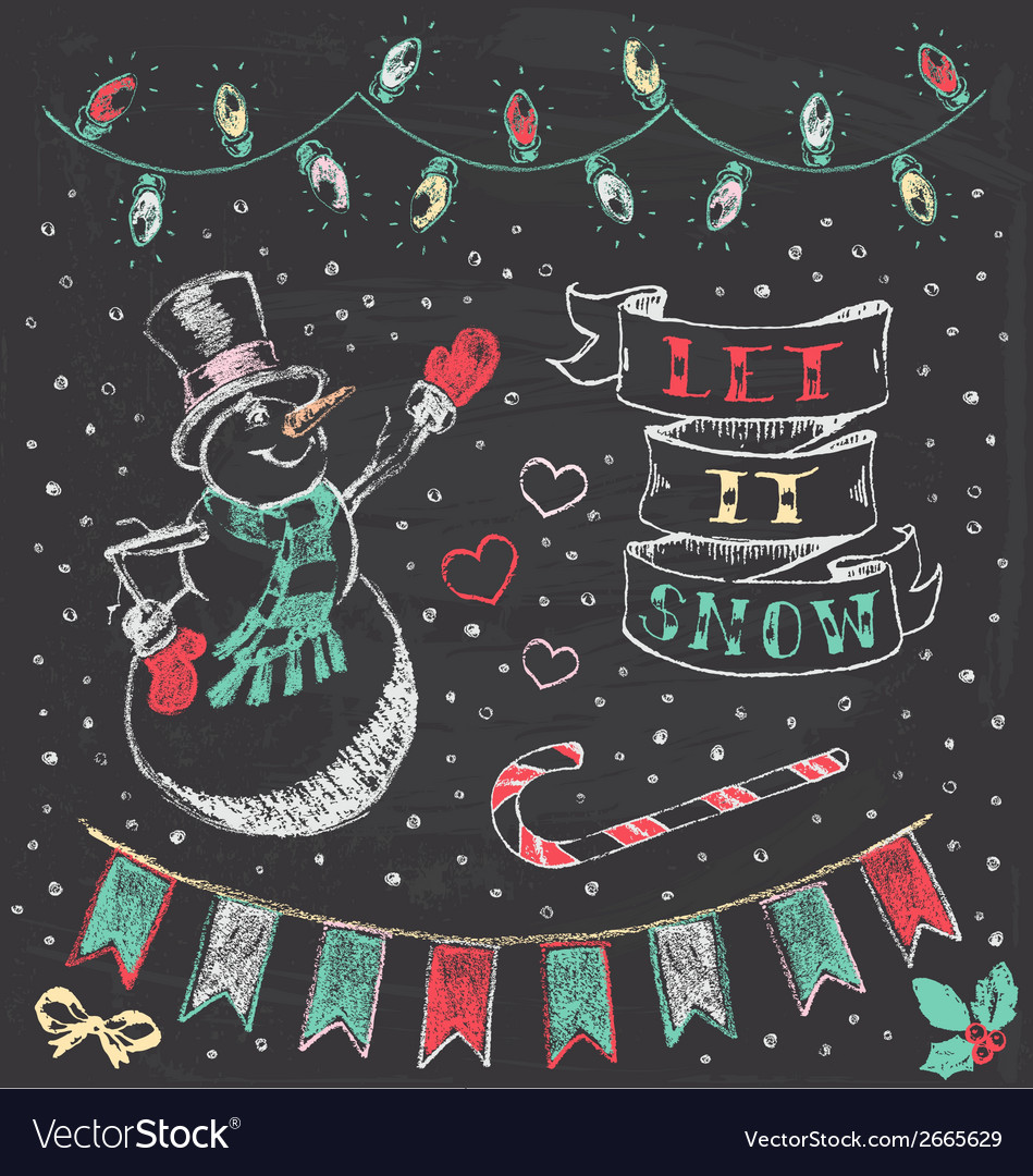 Vintage Christmas Chalkboard Hand Drawn Set 3