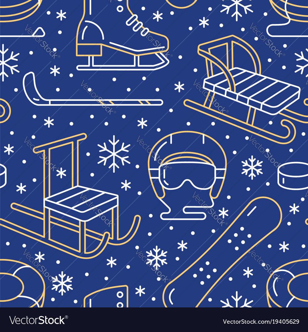 Winter sports blue seamless pattern equipment vector image