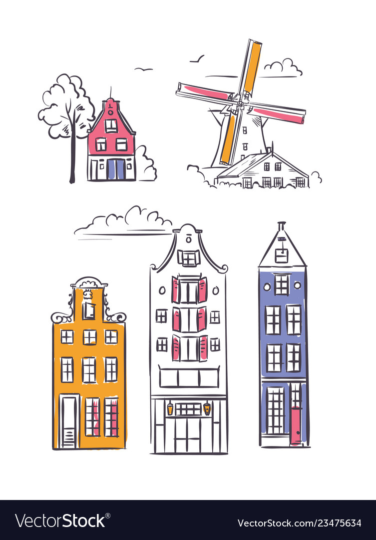 Amsterdam houses and windmill in sketchy style