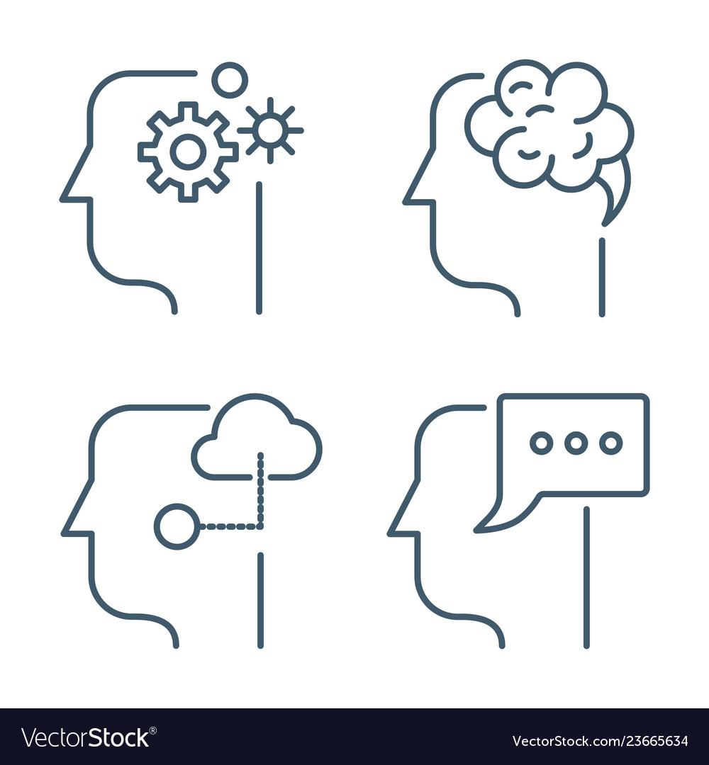 Idea business management line thin icons