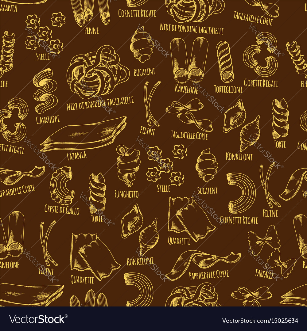 Italian pasta seamless pattern with macaroni vector image