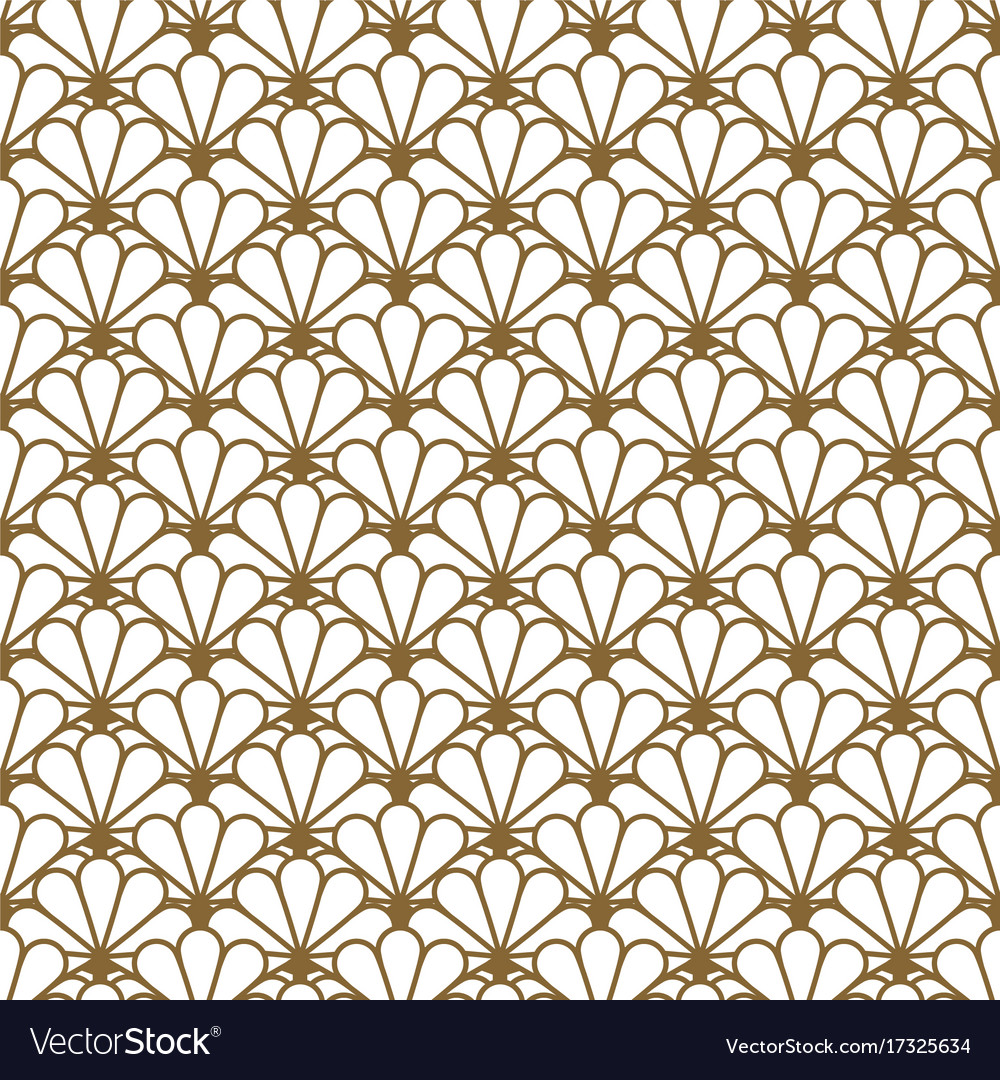 Japan inspired seamless pattern in gold vector image