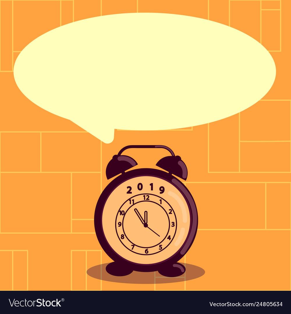 Round shape blank speech bubble and analog alarm