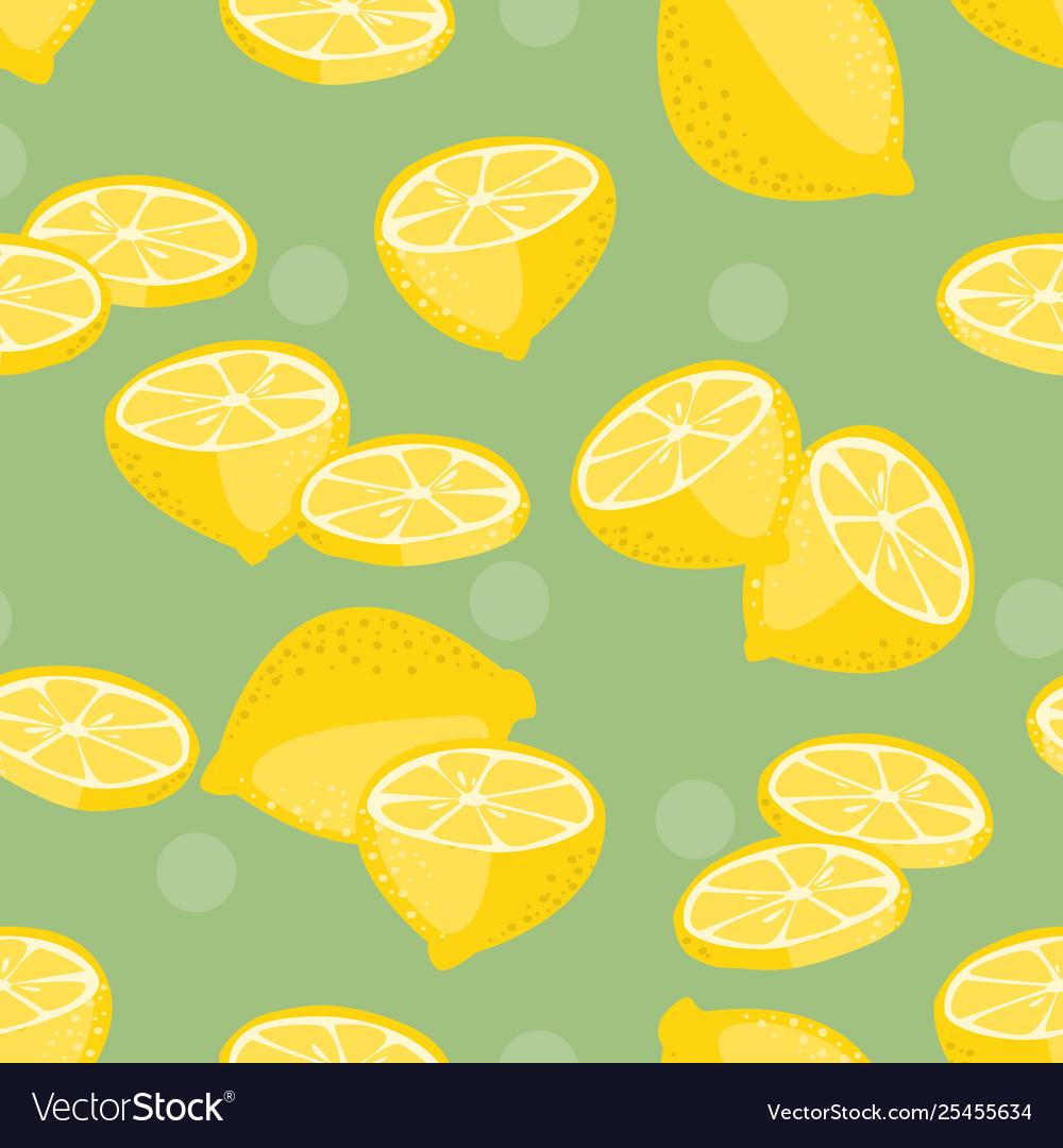 Seamless pattern lemon slice