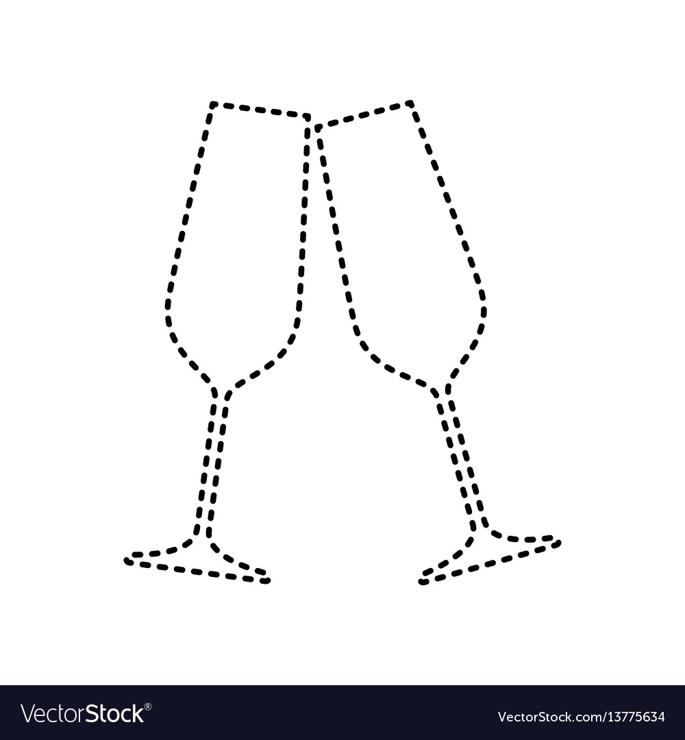 Sparkling champagne glasses black dashed