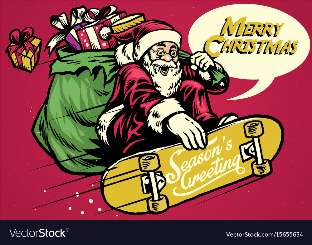 Vintage santa ride skateboard and carrying a bag vector image