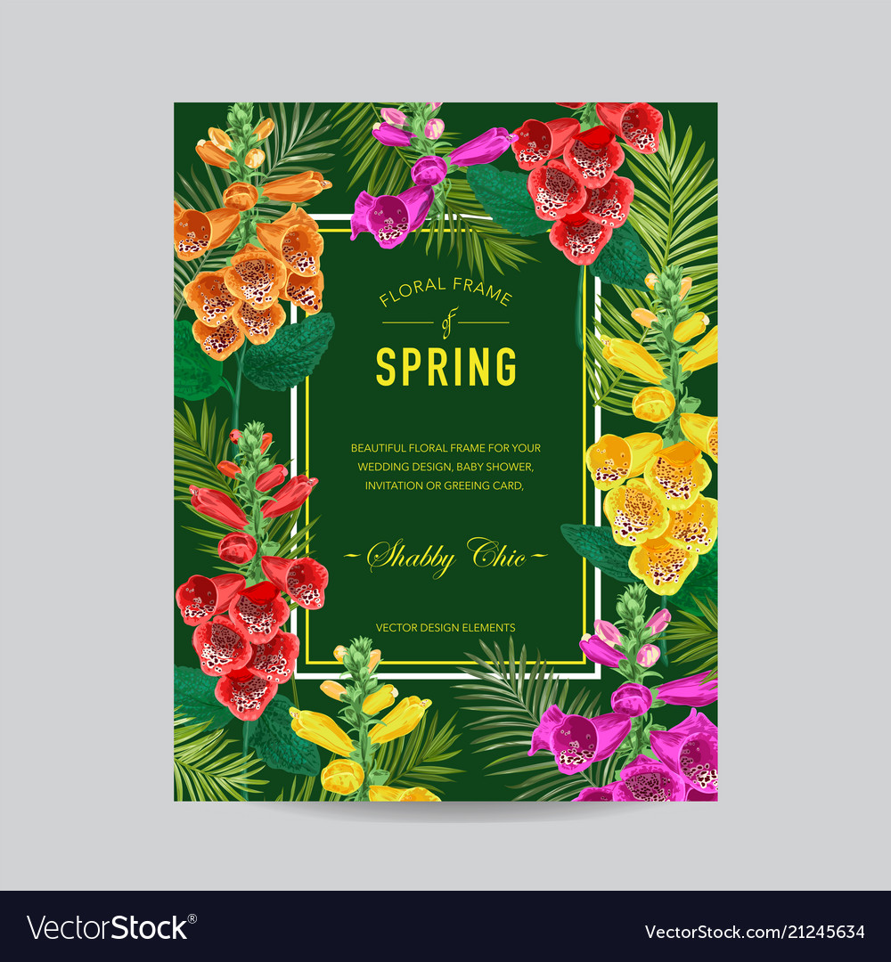 Wedding invitation template with flowers and palms