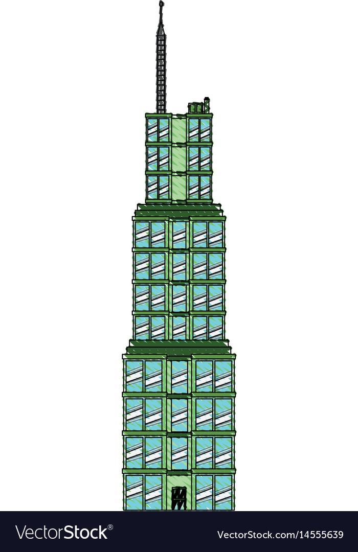 Drawing Building Skyscraper Commercial Antenna Vector Image