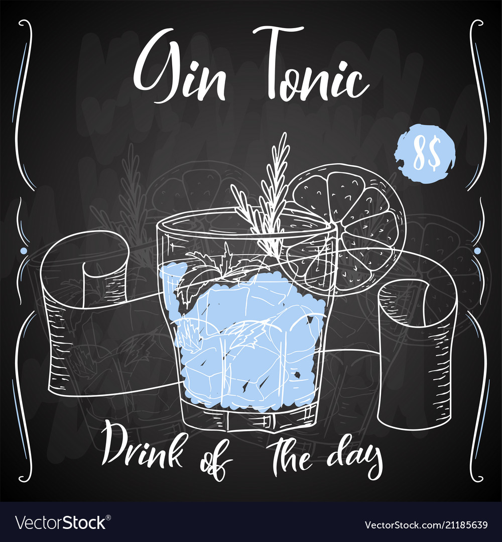 Gin tonic cocktail hand drawn drink on white