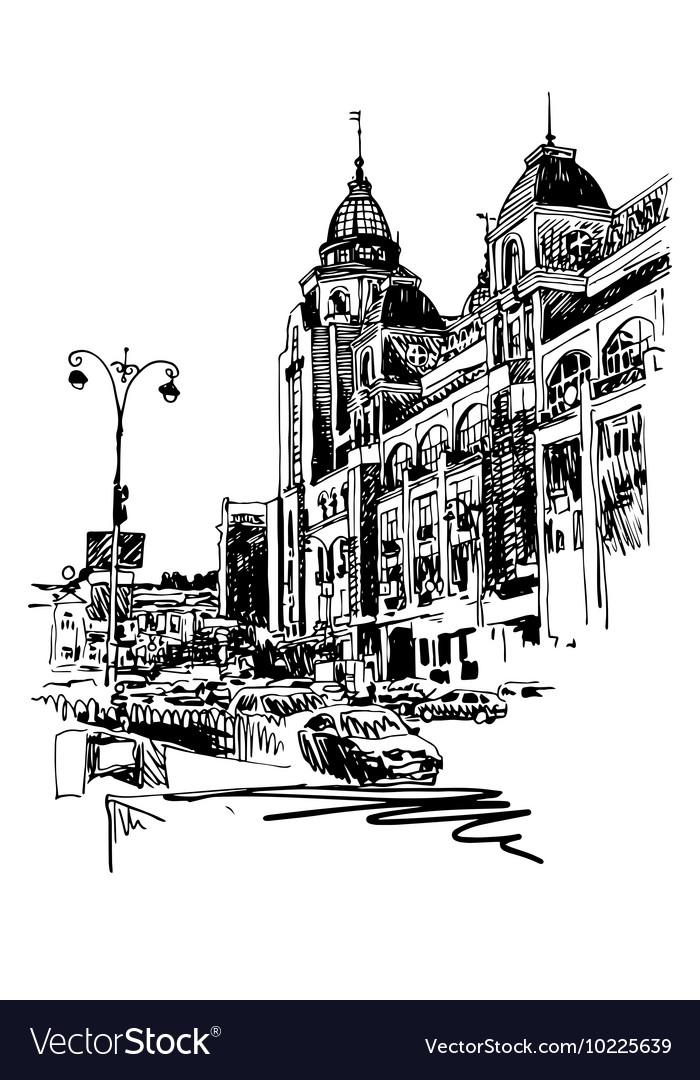 Original black and white digital sketch of Kyiv vector image