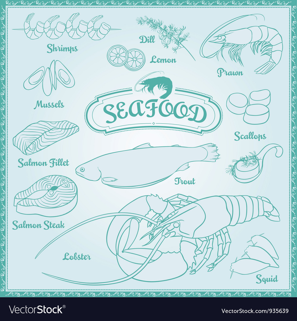 Outline Seafood Set vector image