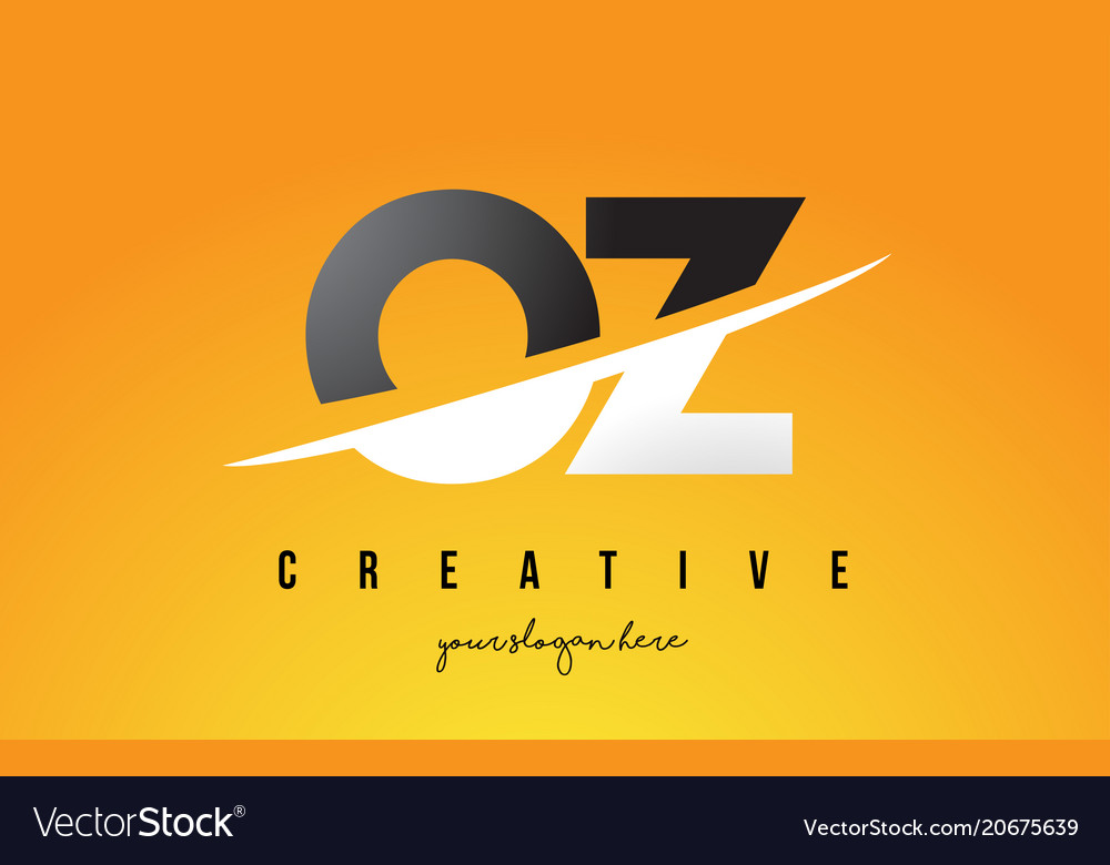 Oz o z letter modern logo design with yellow vector image