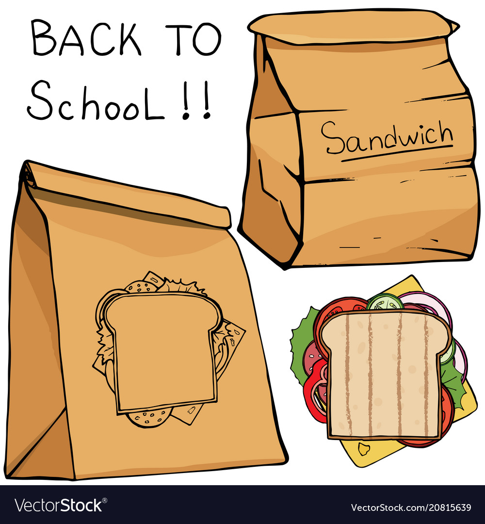 School lunch food boxes and sandwich flat