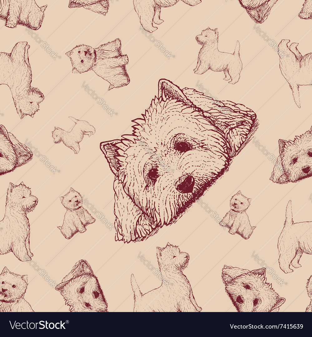 Seamless pattern with brown dogs