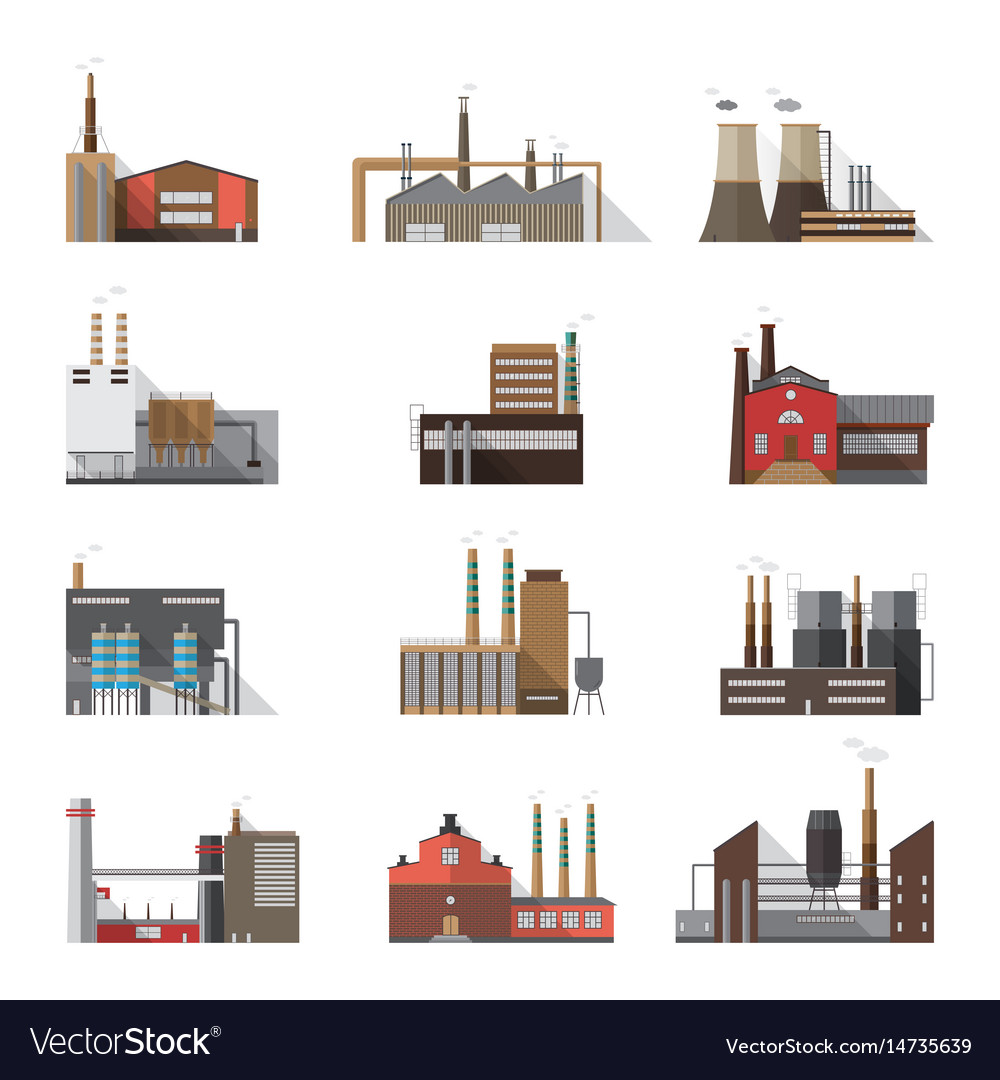 Set of industrial factory and plant buildings
