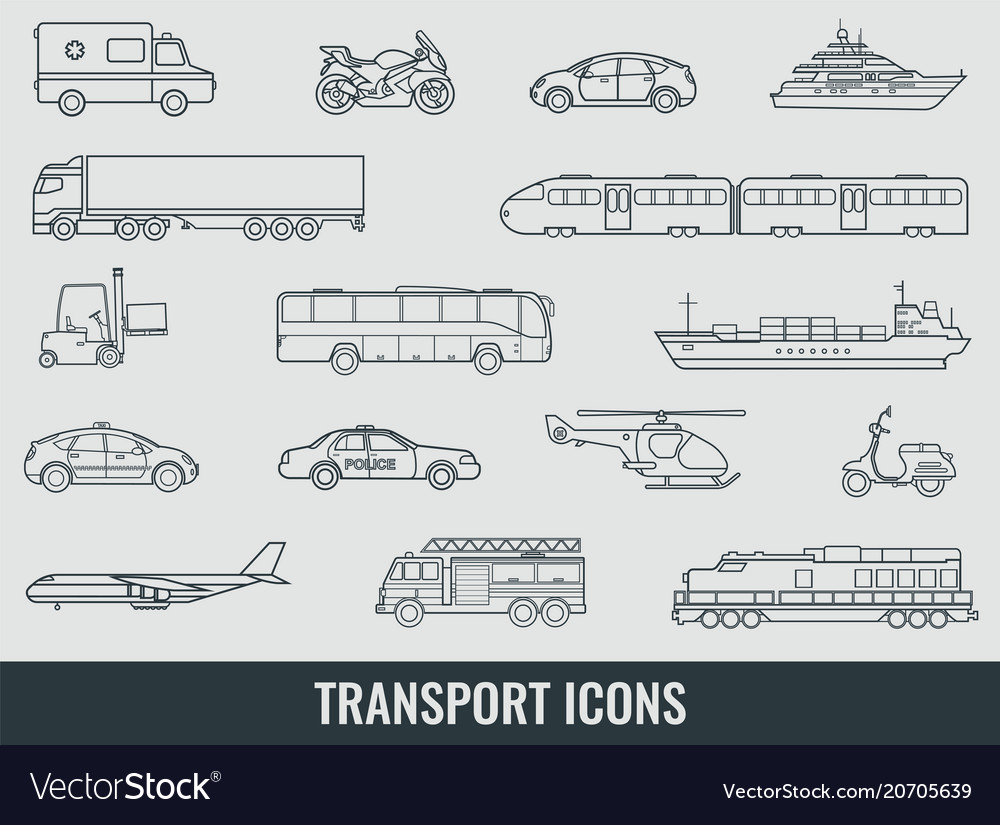 Transportation icons set city cars and vehicles